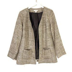 CJ Banks Brown Tweed Open Front Blazer Jacket